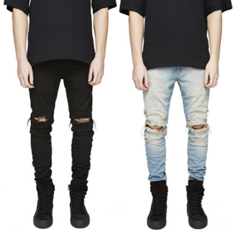 2018 new knee hole jeans high street men's slim elastic feet pants fashion scratch tight jeans brand men's self fit jeans