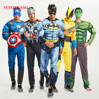 VEVEFHUAG SuperHero Avengers Endgame Clothes Jumpsuit Captain America Superman Batman Hulk IronMan Thor Muscle Cosplay Costumes