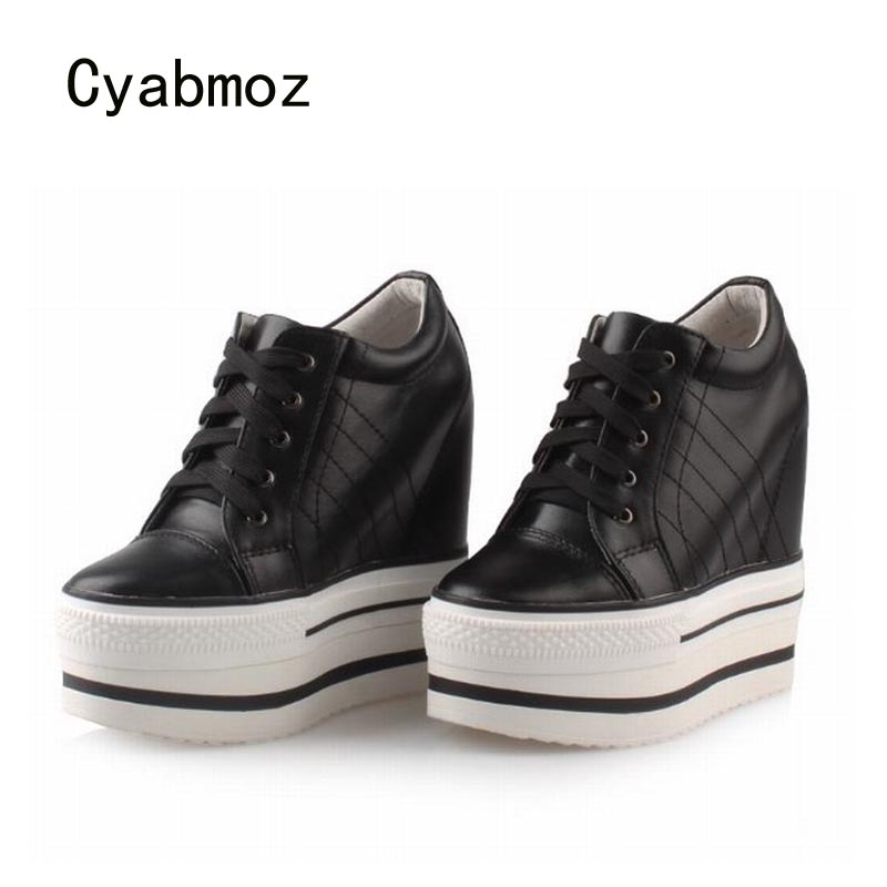 Cyabmoz Women Wedge Platform Shoes Genuine leather Height increasing High heels Lace up White Casual Ladies shoes Zapatos mujer cyabmoz zapatos mujer tenis feminino platform shoes woman lace up thick bottom women casual party ladies valentine single shoes