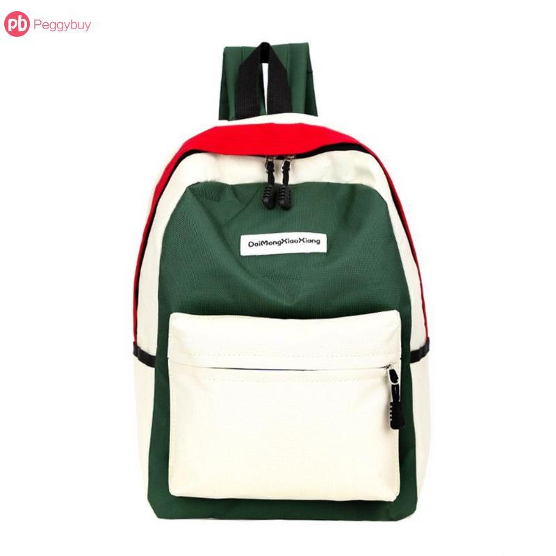 Color Backpack School-Bags Mochila Teenage Girls Fashion Feminina Canvas Panelled