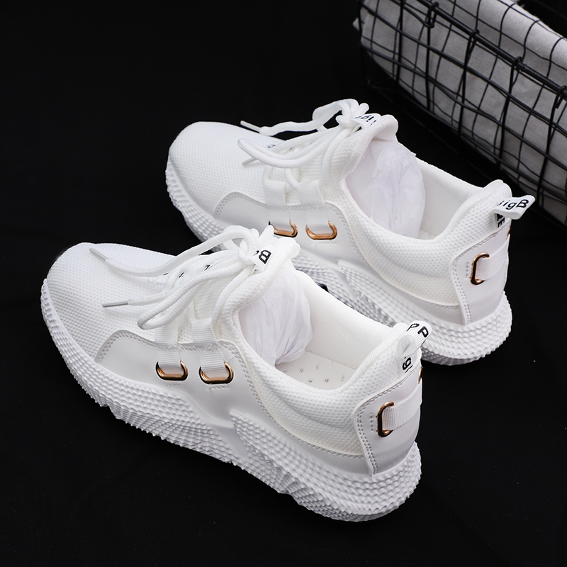 Women Casual Shoes Mesh Breathable Platform Sneakers Chunky Harajuku Flat Thick Sole Tenis Wedge White Walking Shoes Women