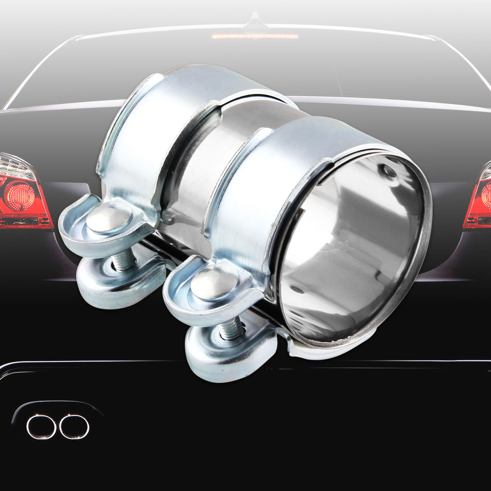 """Bolts fit 2.5/"""" tube Silver Stainless Steel Turbo Exhaust Muffler Pipe Clamp"""