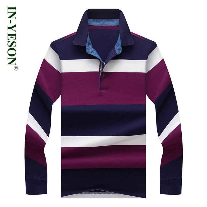 2018 Neue Ankunft Hochwertige Gestreiften Polo Shirt Männer Marke In-yeson Baumwolle Atmungsaktiv Revers Lange Hülsen-beiläufige Männer Polo Hemd Schnelle Farbe