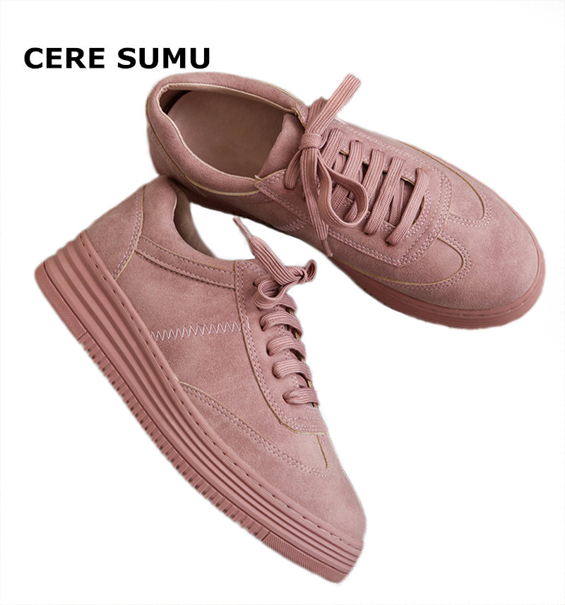 Leather Women Sneakers Fashion Pink Shoes for Women Lace Up White Shoes Creepers Female Ladies Casual Footwear Platform Shoes women oxfords flats shoes leather lace up platform shoes woman 2016 brand fashion female casual white creepers shoes ladies 801