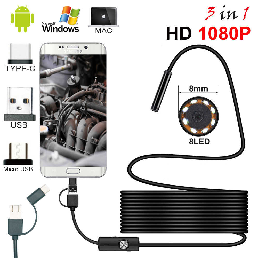 HD 1080P 1m 2m 5m Wire Type-c/USB Android Endoscope Camera Led Light Hook Magnet Tool Inspection Mini Endoscope For PC and Phone