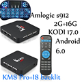 S912 KM8 PRO 10 unids android tv box Amlogic 8 core km8 pro 2g 16g Android 6.0 Dual Wifi Fully loaded desbloqueado 4 K BT4.0