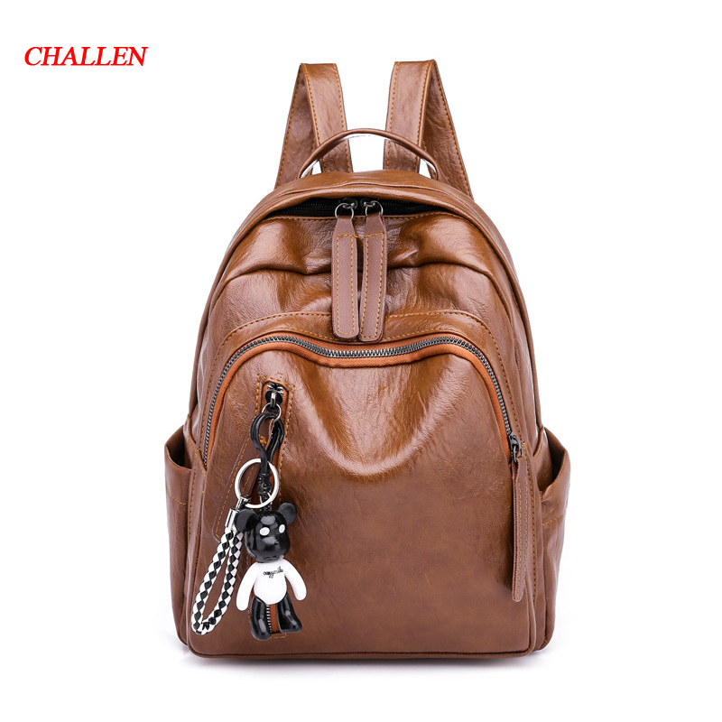 Backpack female 2018 new ladies shoulder bag female travel bag soft leather fashion casual backpack