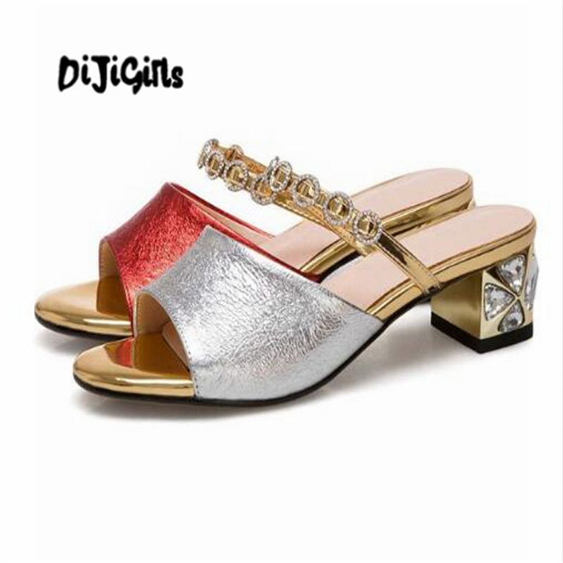 DIJIGIRLS full grain leather brand shoes med thick heels women sandals office lady party round crystal decorations mules