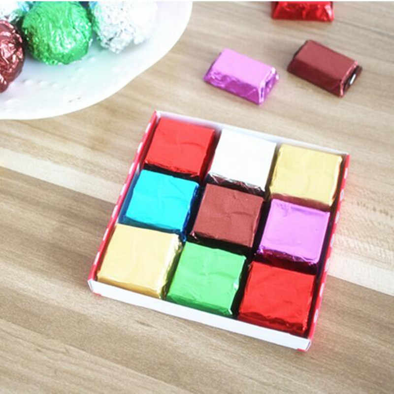 100pcs/lot Foil Candy Package Chocolate Aluminum Candy Food Tin Joyful DIY Baking Foil Package Paper