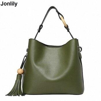 Jonlily 2017 Small Tote Bag Women Candy Color Tassel Messenger Bags Female Handy Real Leather shoulder Messenger Bags SLI-152
