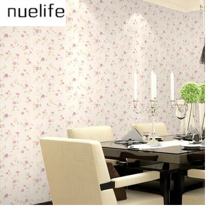 Pvc Pastoral Style Pink Small Flower Wallpapers Living Room Bedroom