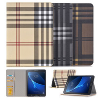 Fashion Checkered Stand Flip PU Leather Case For Samsung Galaxy Tab S3 9 7 T820 T825