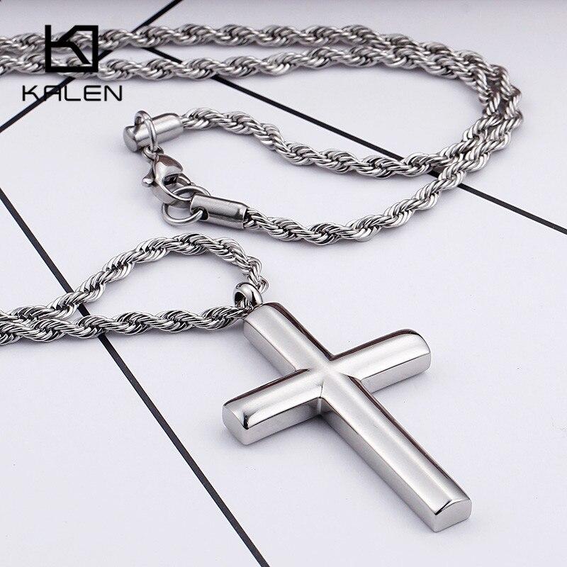 Kalen Klassische Silber Kreuz Halsketten Schmuck männer Edelstahl Metall Kreuz Anhänger Halsketten Männlichen Mode Großhandel Schmuck