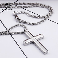 Kalen Classic Silver Cross Necklaces Jewelry Men S Stainless Steel Metal Cross Pendant Necklaces Male Fashion