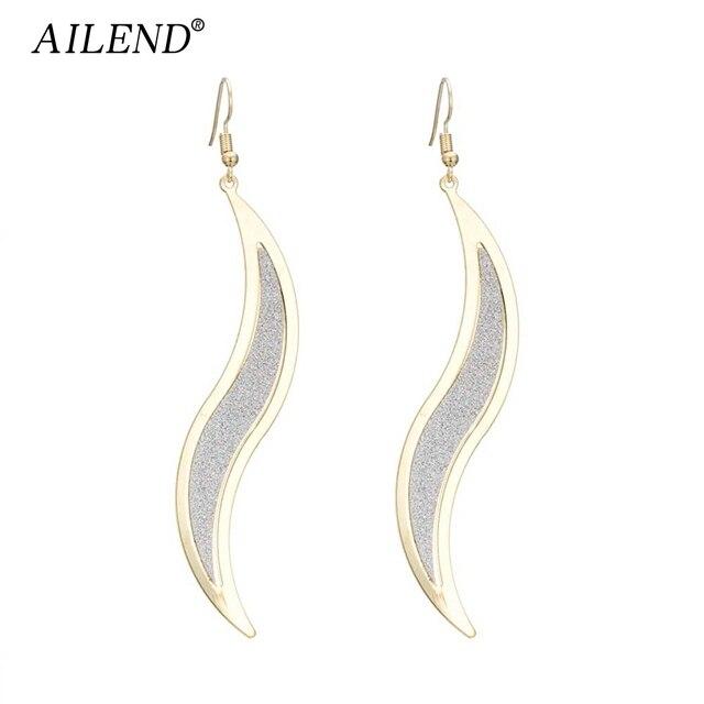 AILEND metal punk wicker foglie glassati orecchini lunghi delle signore di modo orecchini gioielli da sposa affascinante oro e argento