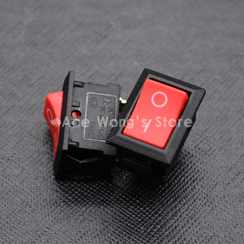 10pcs KCD1-101 AC 6A 250V 2 Pin ON/OFF I/O SPST Snap in Mini Red Button Boat Rocker Switch 15*21MM new mini 5pcs lot 2 pin snap in on off position snap boat button switch 12v 110v 250v t1405 p0 5