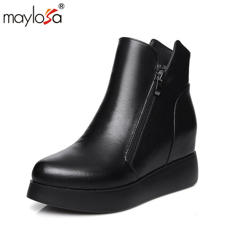 MAYLOSA HOT SALE Shoes Women Genuine Leather Boots Handmade Ankle Boots Flat Boots Female Snow Boot Short Fur Winter 2017 cow suede genuine leather female boots all season winter short plush to keep warm ankle boot solid snow boot bota feminina