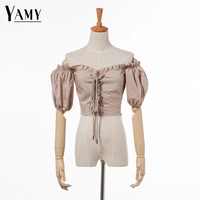 Crop Top Women Ruffle Blouse Womens Tops And Blouses Shirts White Black Short Sleeve Summer Top