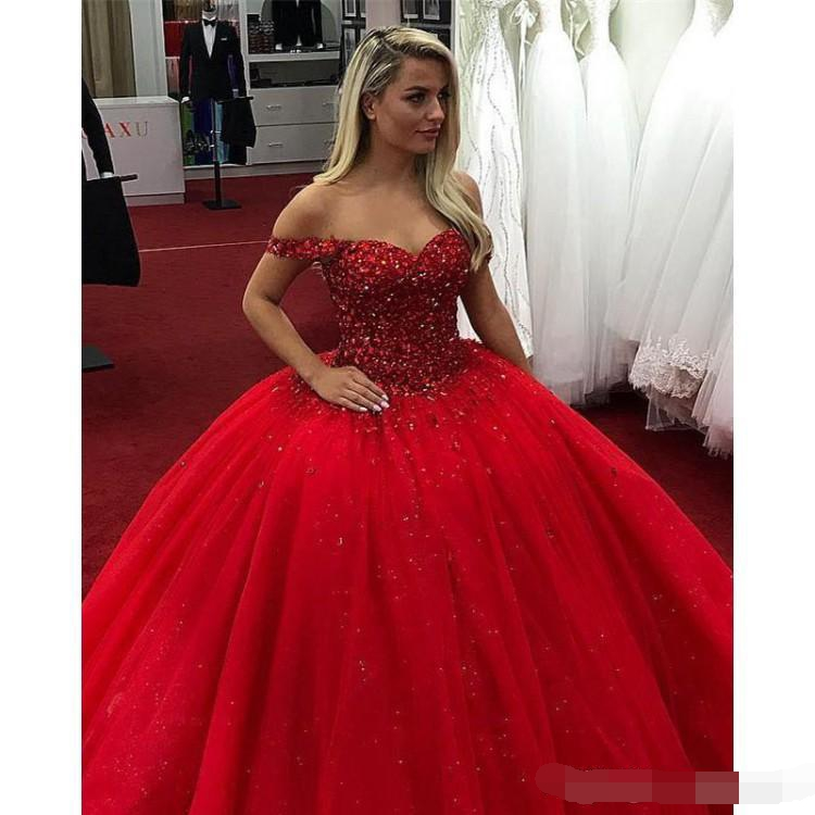 Bright Red 2019 Ball Gown Quinceanera Dresses Off the Shoulder Beads Crystals Lace Up Sweet 16 Prom Dresses vestidos de 15 anos in Quinceanera Dresses from Weddings Events