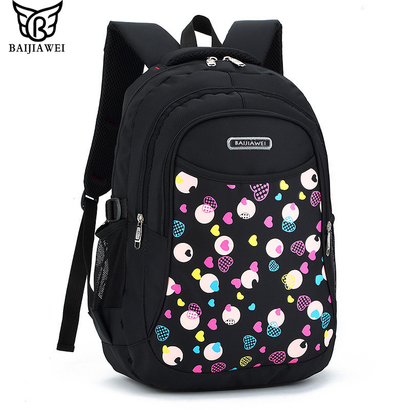 BAIJIAWEI 2017 New School Bag Teenagers Girls High Quality Children Student Backpacks Kids Oxford Backpack Child Print Book Bag lussole loft lsp 9623