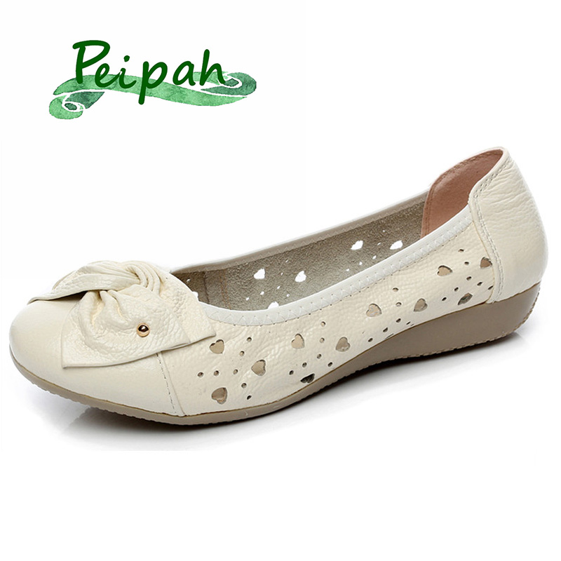 PEIPAH 2019 Cut-Outs Summer Women Sandals Genuine Leather Solid Casual Mother Leather Flat Shoes Women's Ballet Flats Shoes