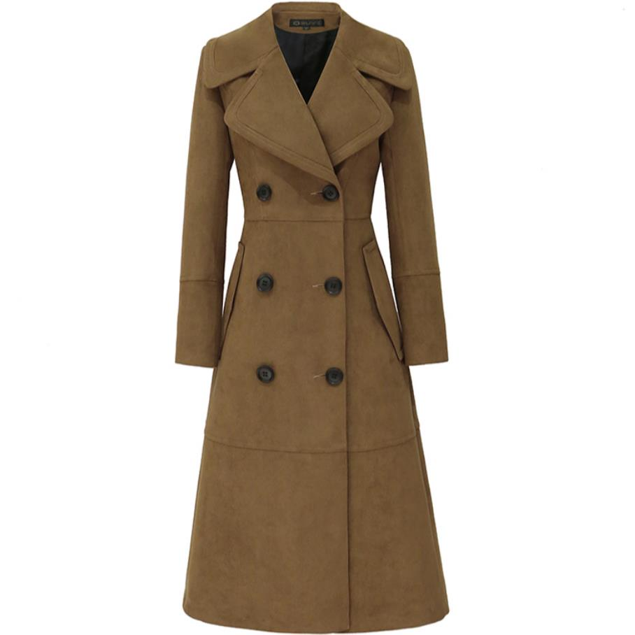 suede   Trench   Coat for Women Long double breasted Women Outwear plus size 5xl