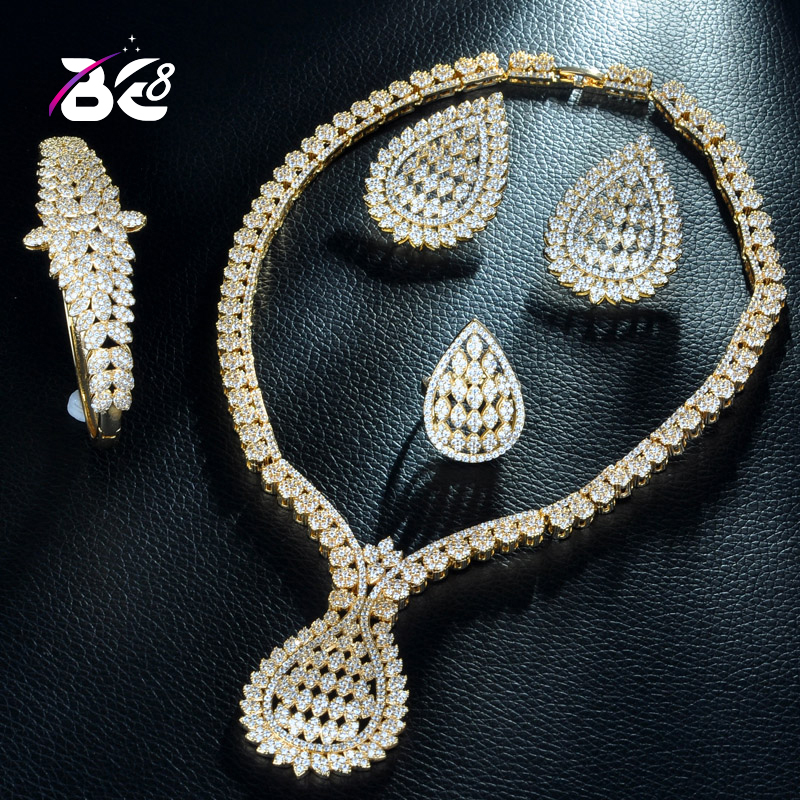 Be 8 New Wedding Bridal Jewelry Sets for Women Indian Gold Color Cubic Zirconia Vintage Dubai African Beads Jewelry Sets S228