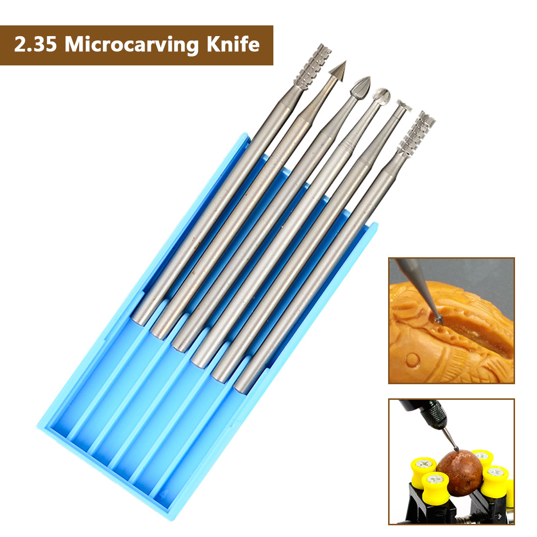 Microcarving Knife Olive Carving Knife Micro-knife Engraving Machine Set 6pcs 2.35MM Diameter Burs For Dremel Rotary Tool