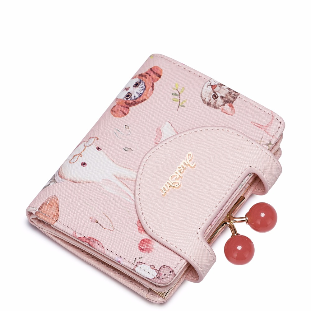 2017 New Animal Printing Cherry Beads Frame PU Women Leather Girls Ladies Small Short Wallets Cards Holder Purse Clutches