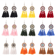 HOCOLE Bohemian Long Tassel Drop Earrings For Women Hangmade Ethnic Round Fringed Flower Dangle Earring Fashion Jewelry Female