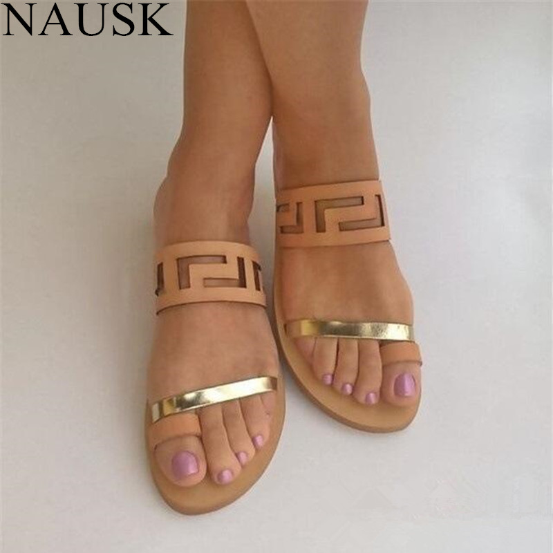 NAUSK 2018 New Fashion Summer Shoes Women Casual Sandals Gladiator Flat with Women Sandals Metal Decoration Sandalias Mujer