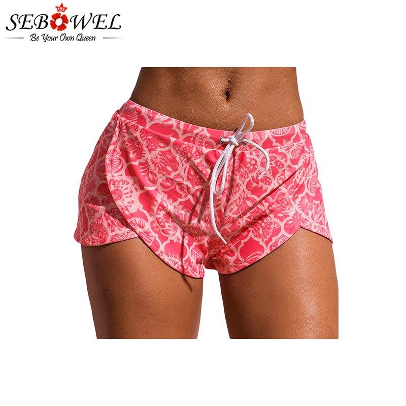 SEBOWEL Pink Print Drawstring Waist Boyshort Beach Bottom Women Sexy Swimming Shorts Female Summer Bikini Panties Swim Briefs