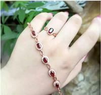 Гранатовый браслет цепочка Бесплатная доставка настоящий натуральный красный гранат 925 стерлингового серебра Роскошные браслеты драгоцен