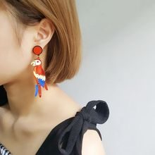 Acrylic Colorful Parrot Bird Drop Earrings Stand Out Summer Fashion Jewelry