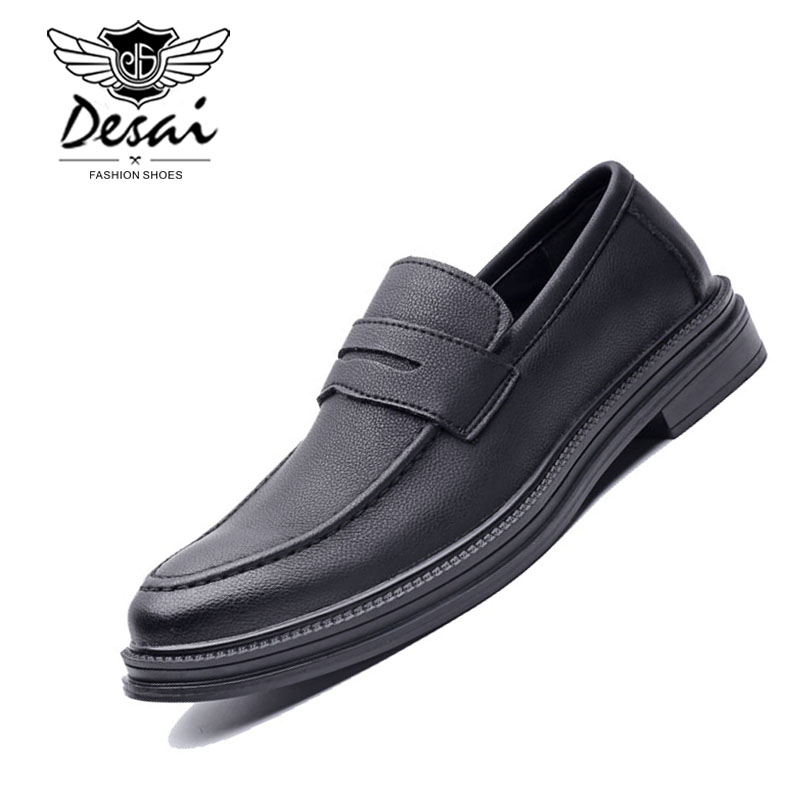 DESAI Fashion Spring Summer Men Casual Shoes Slip On Moccasins Men Loafers Pu Leather Shoes Black