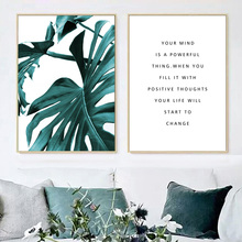 Fresh Monstera Leaves Green Plant Quotes Nordic Posters And Prints Wall Art Canvas Painting Wall Pictures For Living Room Decor wall art canvas painting fresh green monstera small plant leaves nordic posters and prints wall pictures for living room decor