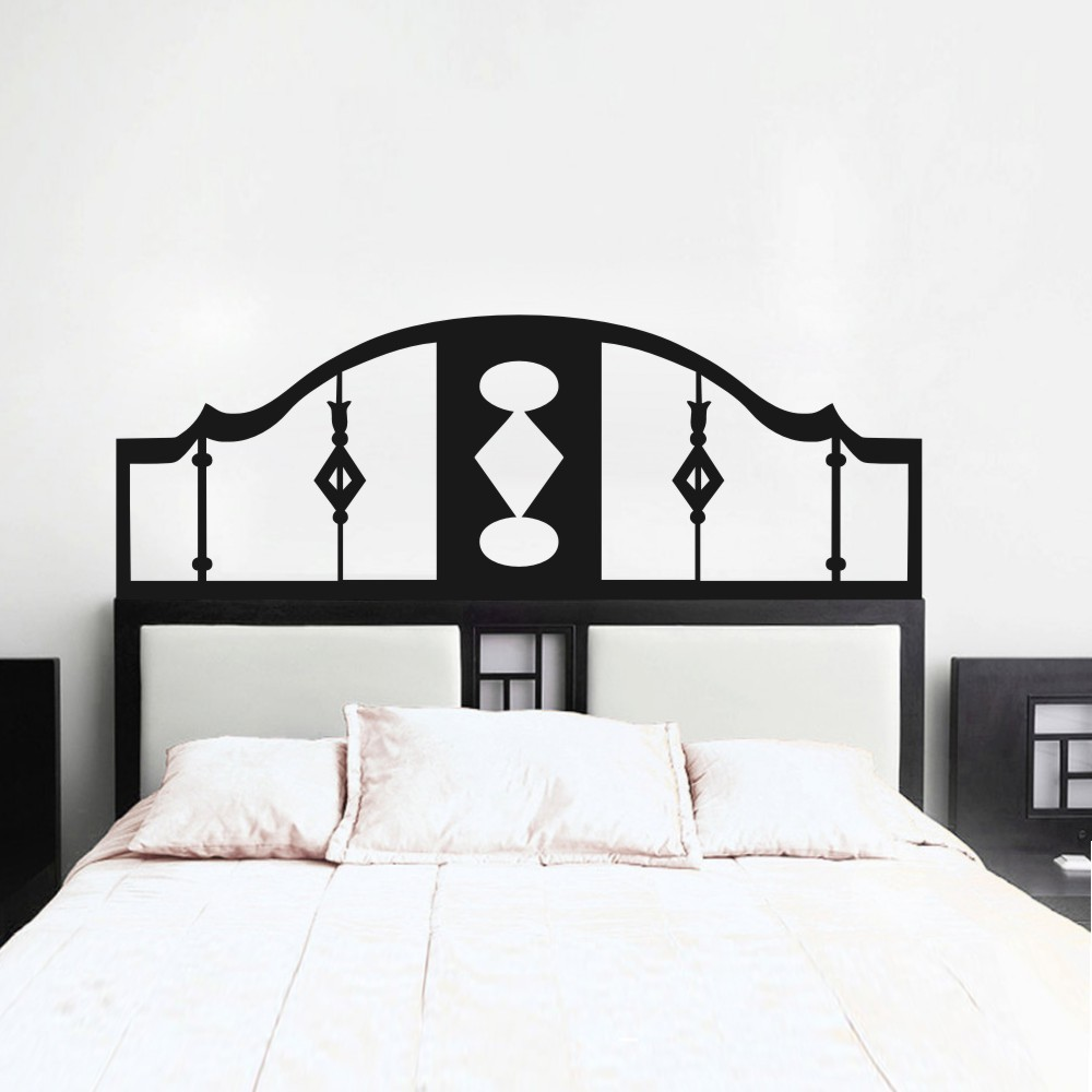 Abstract Wall Decal Headboard Geometric Dorm Decor Bed Frame Vinyl Art Sticker 28H X76W black