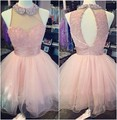 Pink Cute Semi Formal Homecoming Dresses Tulle Beading Crystals Short Puffy Short Import Party Gowns vestido de formatura