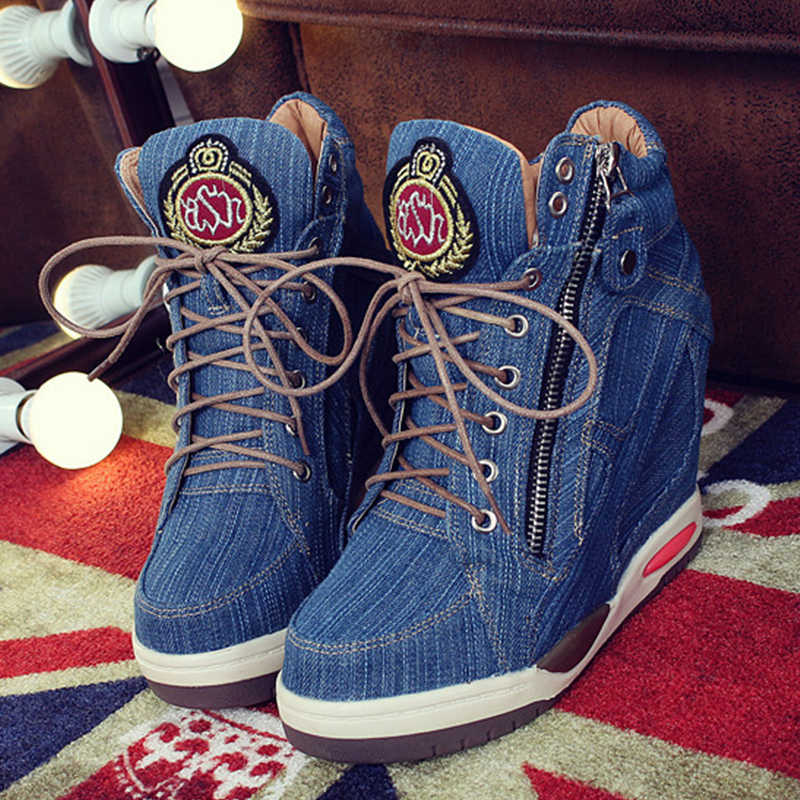 BONJOMARISA ใหม่ฤดูใบไม้ร่วง Elegant ความสูง Denim รองเท้าผู้หญิง 2019 แฟชั่น lace-up รองเท้าส้นสูงรองเท้าผู้หญิง