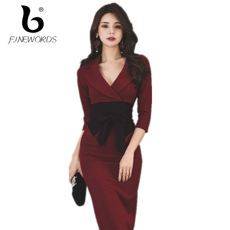 FINEWORDS Lapel Women Elegant Bodycon Work Office Dress Sexy Slim Sashes Red Midi Business Dress Korean Gentlewomen Formal Dress