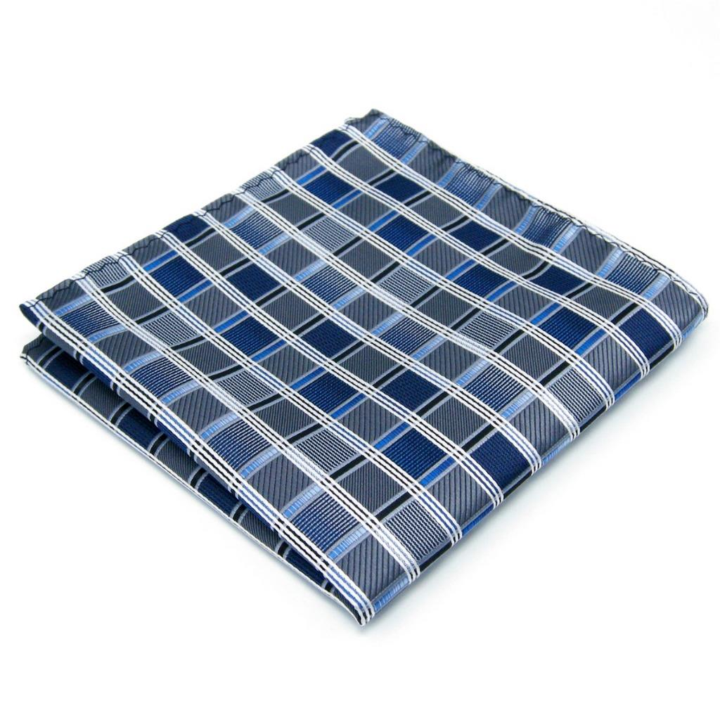 AH17 Men Pocket Square Brand New Dress Blue Gray Silver Checkered Silk Fashion Wedding Hanky 12.6