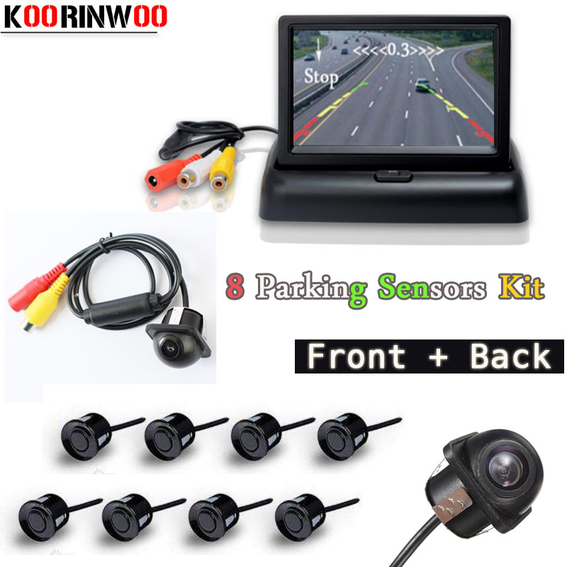 Koorinwoo Dual Core Car Parking Sensors 8 Radars Car Monitor Digital TFT LCD Alarm Front Camera Car Rear view Camera Parktronic koorinwoo car parking sensors 8 sensors
