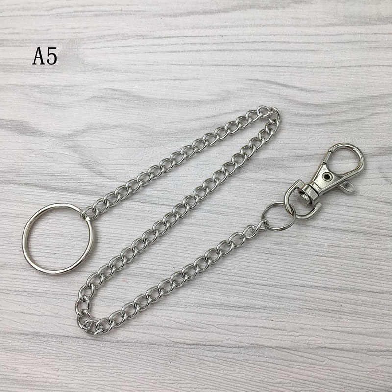 RE Long metal wallet belt chain rock punk trousers hipster pants jeans keychain silver ring clip keyring mens hiphop jewelry K40