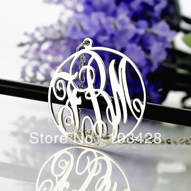 Freeshipping-Monogram Sterling silver Circle Necklace with Name Pendant Silver Plated Personalized 3 Initial Necklace