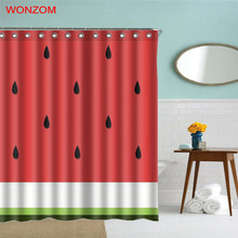 WONZOM 3D Watermelon Shower Curtain with 12 Hooks For Bathroom Decor Modern Ice Cube Bath Waterproof 2018 Accessories