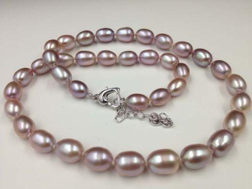 Encanto de plata accesorio brilló> Impresionante 7-8mm de arroz púrpura real de agua dulce Collar de perlas