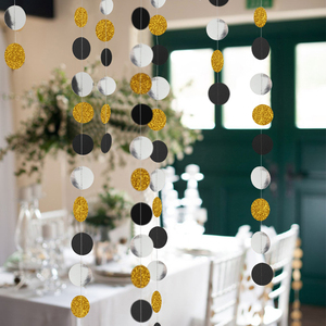 Image 2 - 4M 57pieces Party Banners Streamers Confetti Silver Black Gold Glitter Circle Polka Dots Graduation 2019 Paper Garland Banner