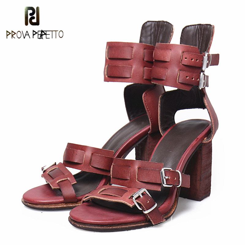 Prova Perfetto Fashion Sandals Women Female Double Buckle Casual Sandal Thick Heels Spring Summer Shoes Peep Toe Solid Shoe Girl han edition diamond thick bottom female sandals 2017 new summer peep toe fashion sandals prevent slippery outside wear female