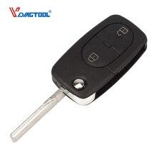 VDIAGTOOL 2 Buttons Remote Flip Car Key Cover Round Blank For VW Volkswagen Golf 4 5 6 Passat B5 B6 Polo Bora Touran Key Shell