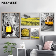 Nordic Landscape Fashion Canvas Painting Poster Pastoral Style Yellow Tram Wall Picture For Living Room Home Decor Scandinavian